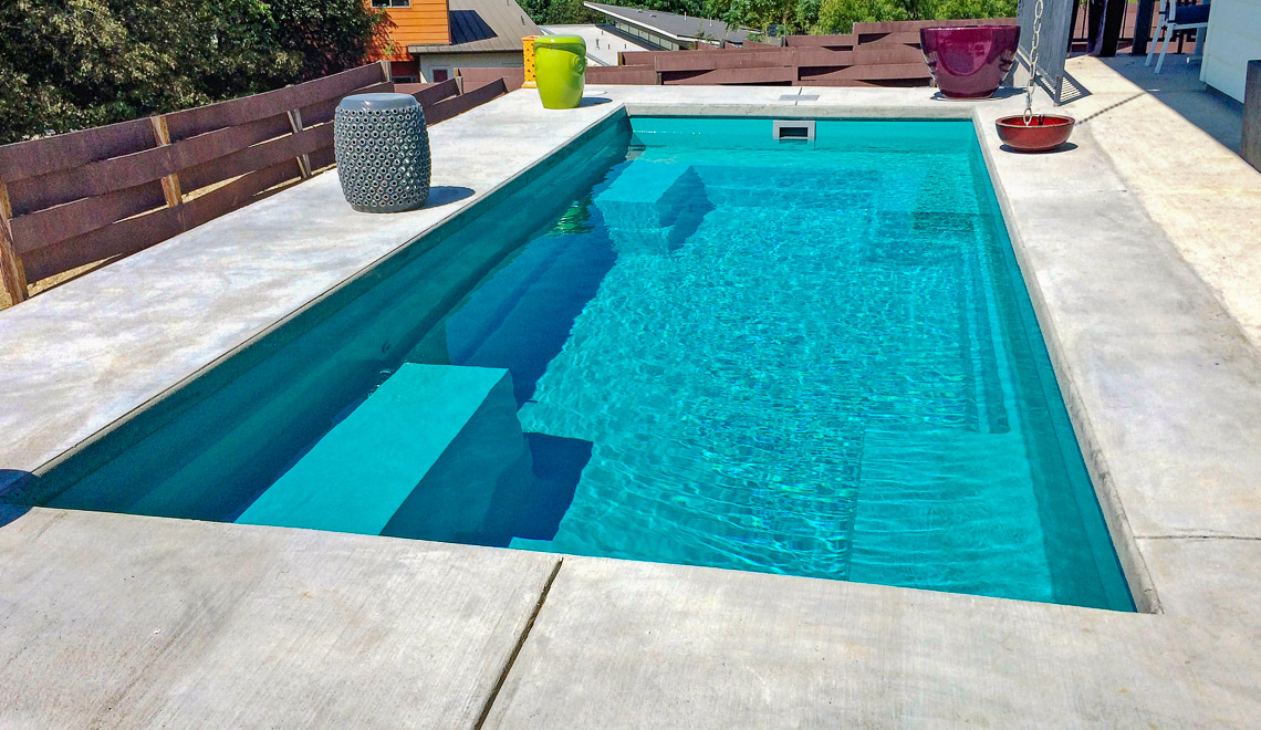 Leisure Pools Palladium Plunge fiberglass compact swimming pool