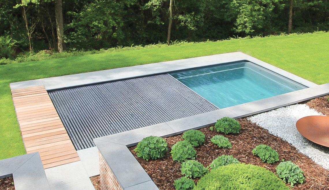 Leisure Pools Reflection plus Cover Box composite in-ground swimming pool
