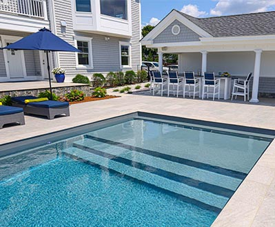 Leisure Pools Inground Fiberglass Pool Color Graphite Grey